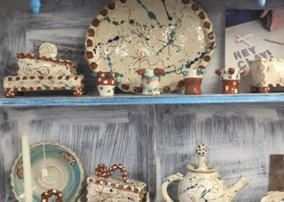eastnor pottery has an oak dresser full of ceramics by sarah monk slipware designs for breakfast mugs bowls teapots spoons colanders toastracks