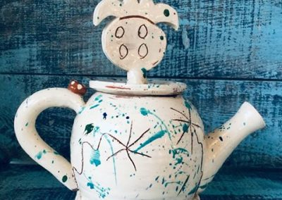 Wheel thrown slipware teapot by sarah monk studio potter