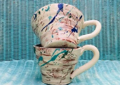 Two hand thrown scribble cups handmade by sarah monk