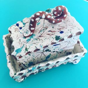 slab built slipware butterdish made by Sarah Monk from eastnor pottery