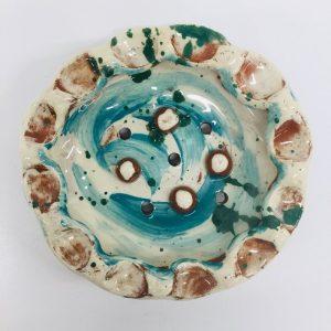 press moulded circular slipware soap dish made at eastnor pottery by sarah monk