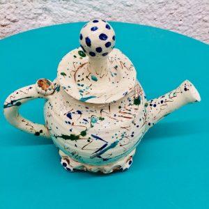 scribble hand thrown teapot by sarah monk ceramic