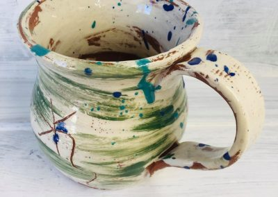 brushed green mug by sarah monk ceramicselevated view