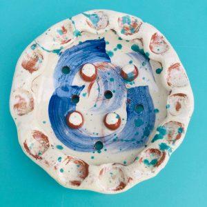circular soap dish in brushed cobalt by sarah monk ceramics