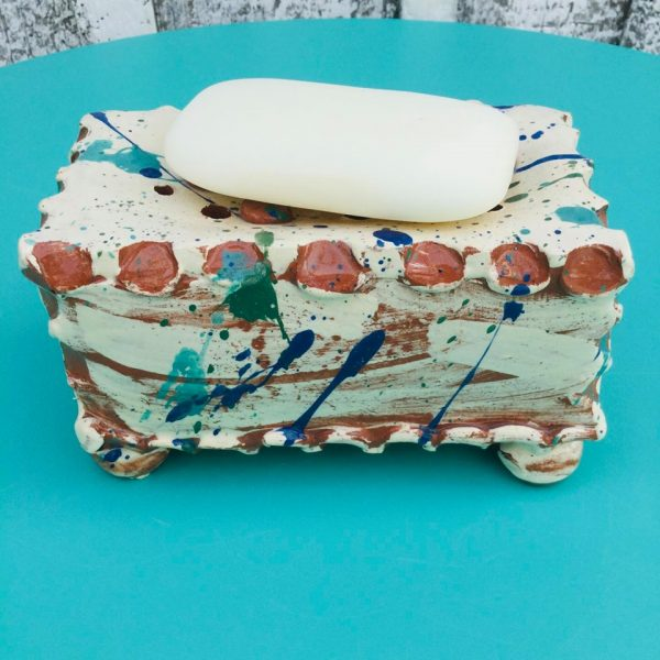 slab built soap pillow covered in splatters by sarah monk ceramics