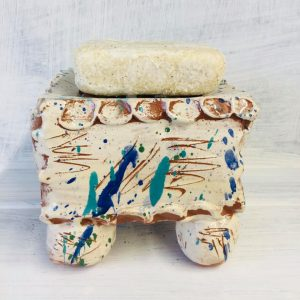 a square soap dish soap pillow with soap by sarah monk ceramics