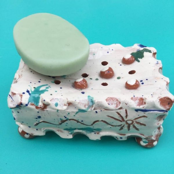 slab built slipware soap dish by sarah monk ceramics with soap