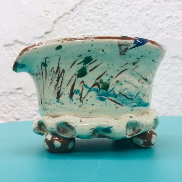 slipware shaving bowl scribble ware design by sarah monk ceramics