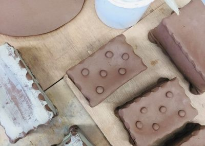 Wet terracotta clay soap dishes aerial view made by sarah monk ceramics