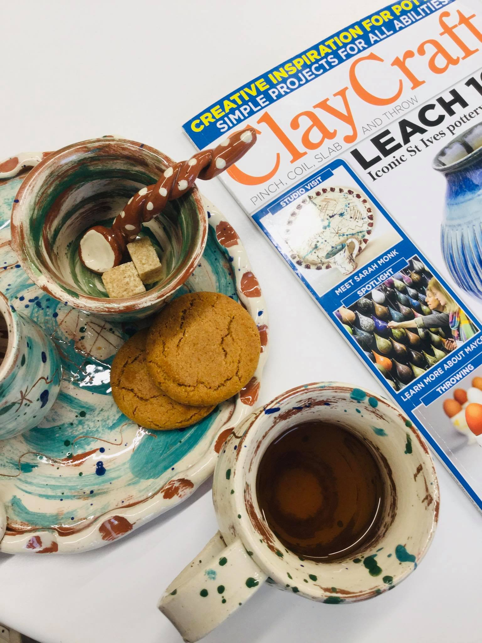 slipware cup handmade spoon and biscuit plate by sarah monk ceramics plus clay craft magazine font cover