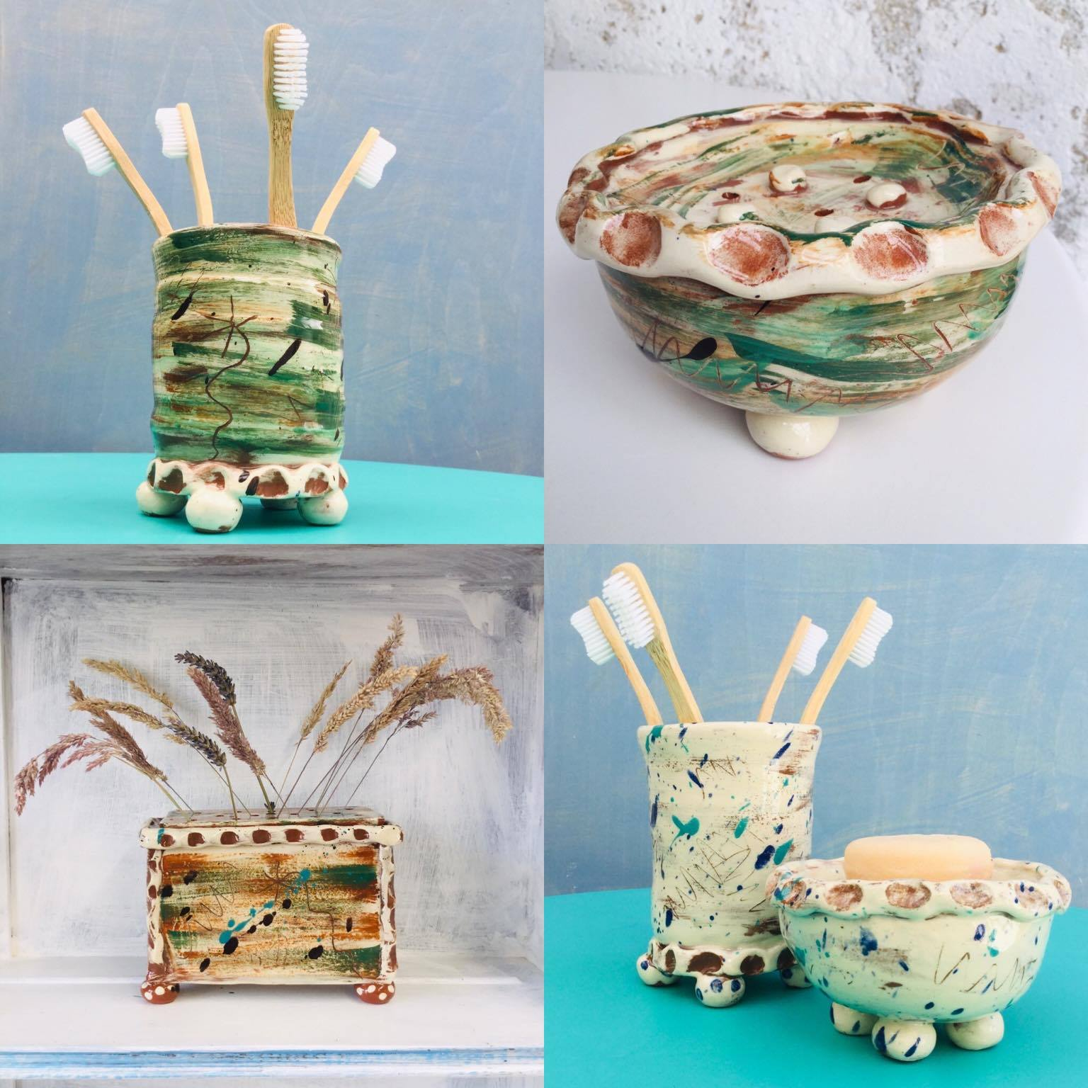 a selection of ceramic bathroom ware by sarah monk ceramics