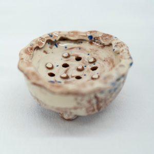 slipware circular soap pillow by sarah monk ceramics