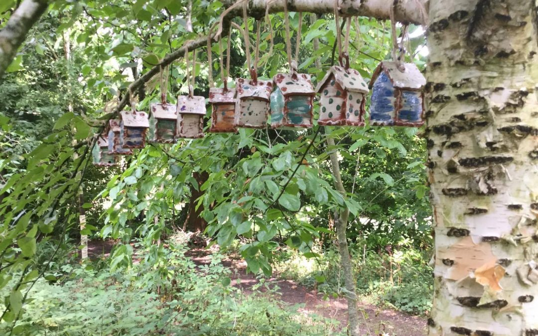 Ceramic Bug Houses in the Woods