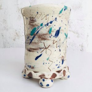 scribbleware toothbrush beaker by sarah monk ceramics