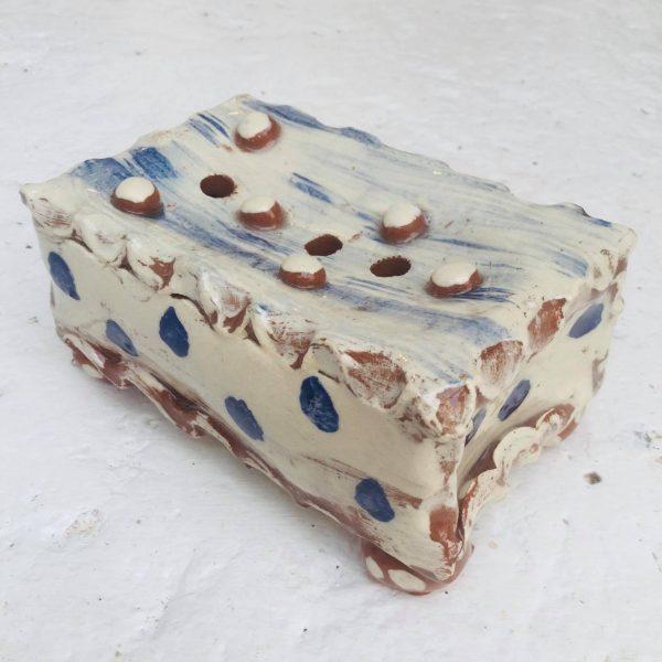 slipware ceramic soap dish in white with cobalt blue dots
