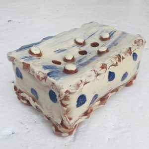a blue and white slipware rectangular soap dish by sarah monk