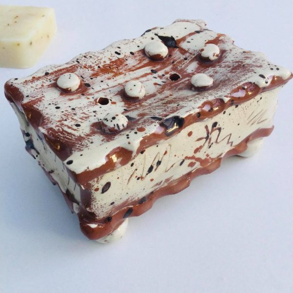pottery brown slab soap dish on white background by sarah monk