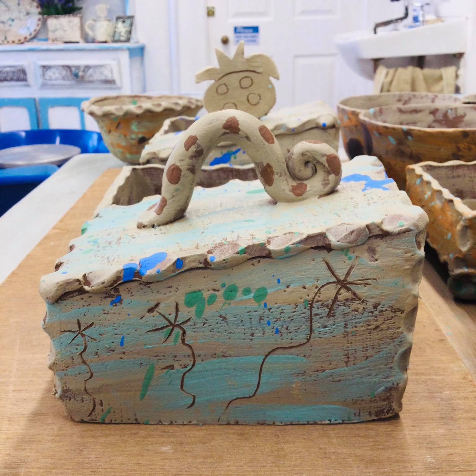 slab built butterdish work in progress in the studio of sarah monk ceramics