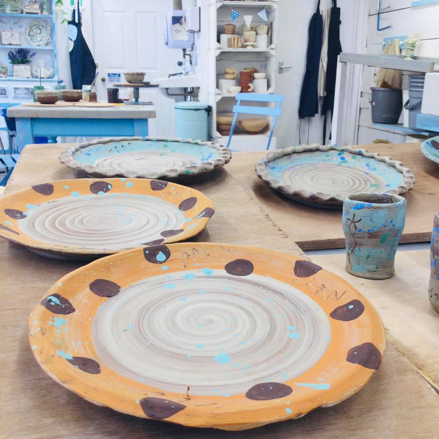 work in progress studio shot of slipware bt Sarah Monk Ceramics