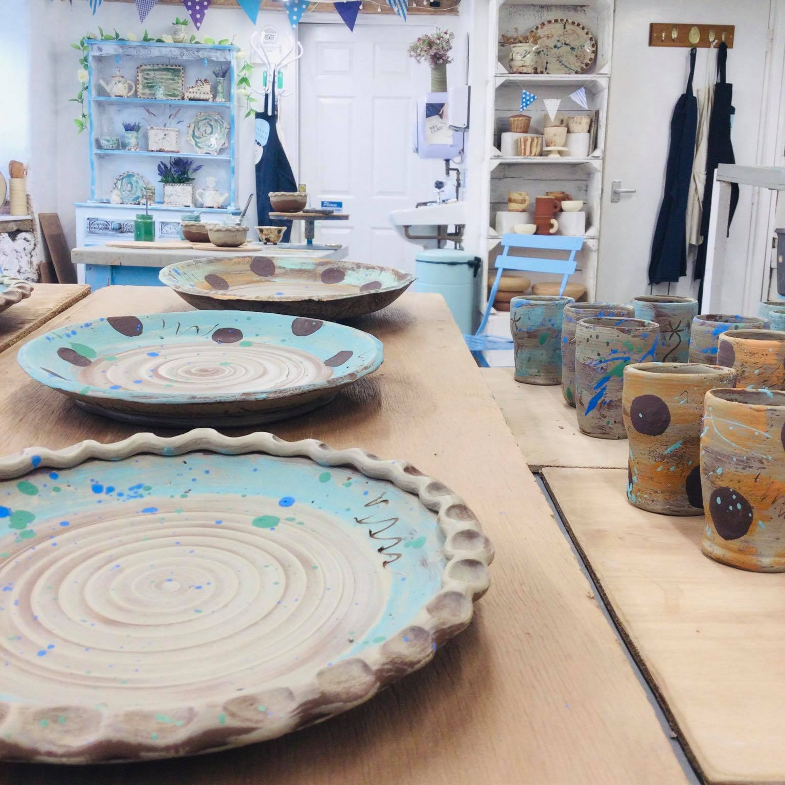 studio shot at Eastnor Pottery, work by Sarah Monk for Digital Craft Festival 2021